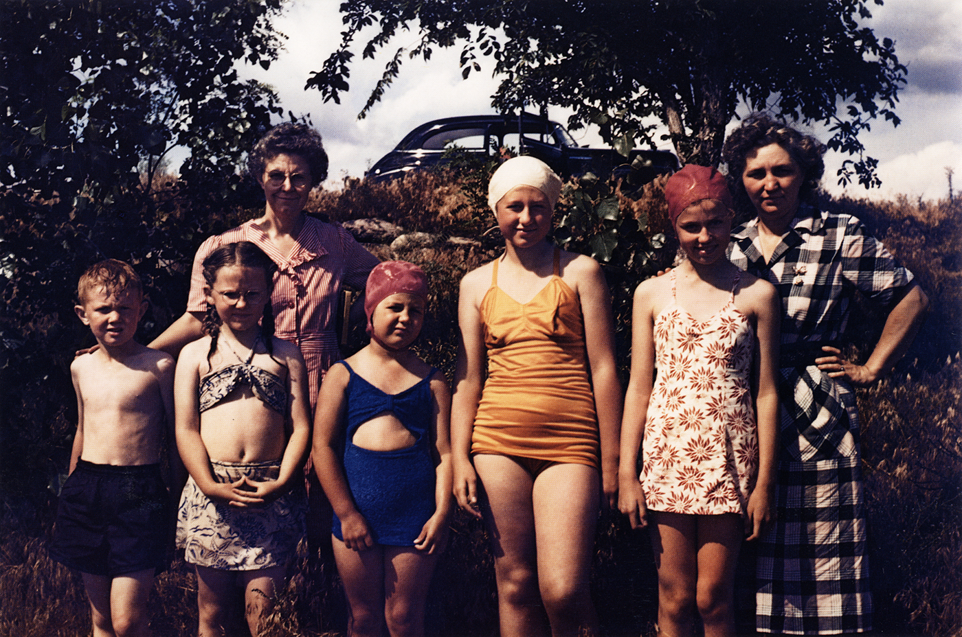 Guy Stricherz  Americans in Kodachrome 1945-1965   Swimmers, Alexandria, South Dakota,  1948  Photographer: Floyd M. Jones  16 x 20 inches  Dye Transfer Print