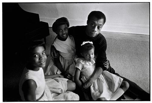 Bruce Davidson, James Baldwin and his three nieces, New York, 1964