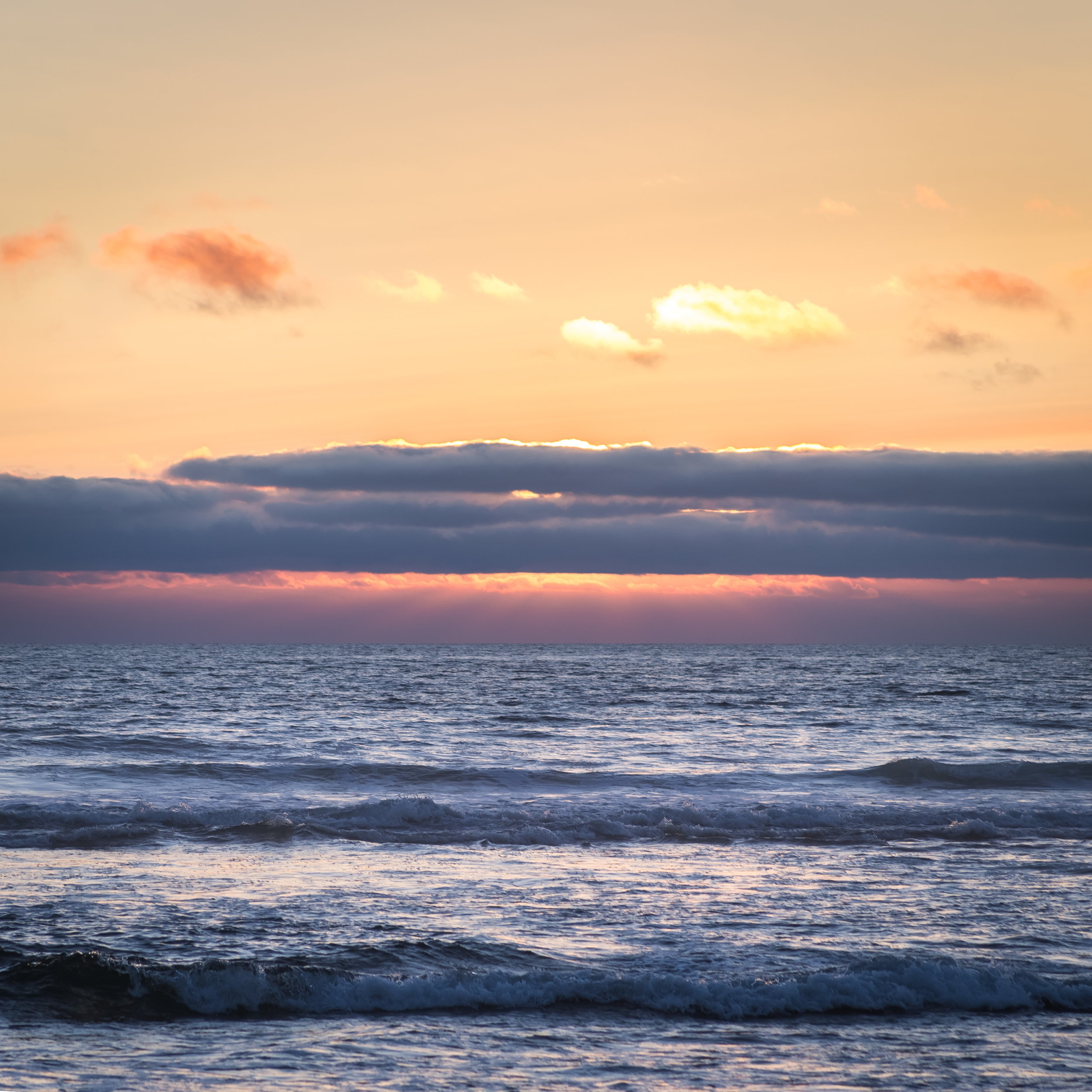 """Ocean - 12x12 print in a 16x16 ma  Taken on July 7, 2015 in Lincoln City, Oregon.  """"If people sat outside and looked at the stars each night, I'll bet they'd live a lot differently. ...when you look into infinity, you realize that there are more important things than what people do all day."""" -Bill Watterson  This also applies to the ocean.   First shown at the Denver Art Society -November 2016 First Friday."""