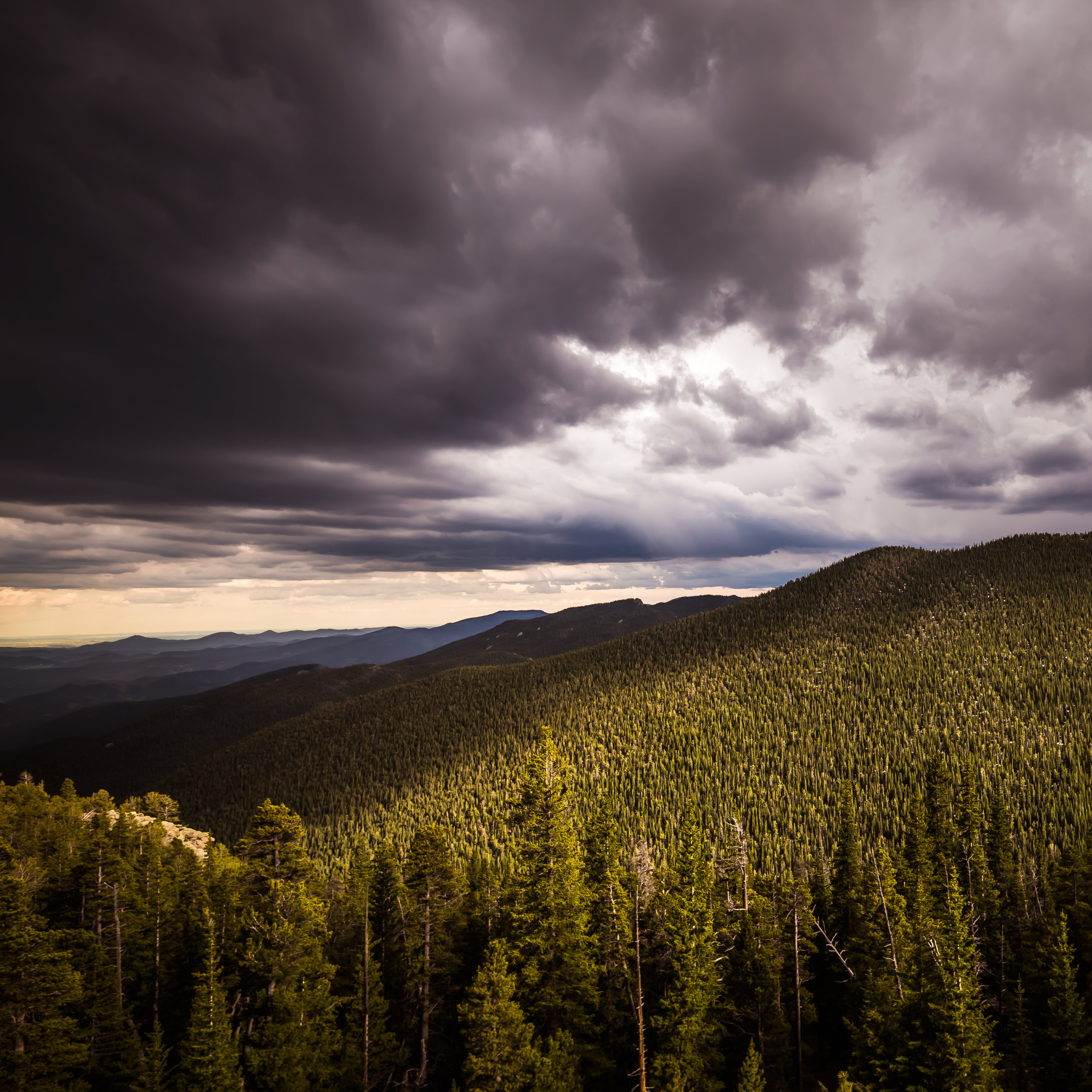 Light - 12x12 print in a 16x16 mat  Taken on June 13, 2015 near Mt. Evans in Colorado.  This was taken just before a crazy lightning storm.  First shown at the Denver Art Society -November 2016 First Friday.