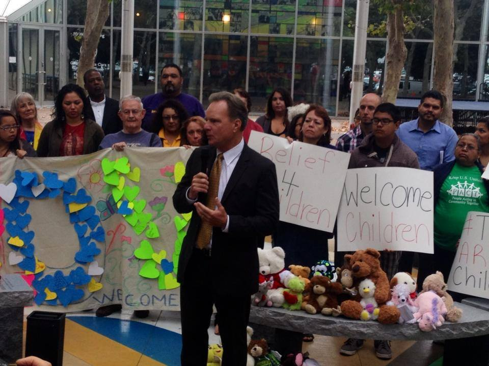 Supervisor Dave Cortese addresses press and community on the morning of August 5th on the issue of unaccompanied immigrant children in Santa Clara County.