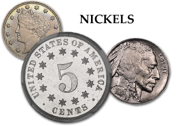 "Three-Cent Silvers, Three-Cent Nickels - 3c Shield Nickels, Liberty ""V"" Nickels,  Buffalo Nickels, & Jefferson Nickels - 5c"