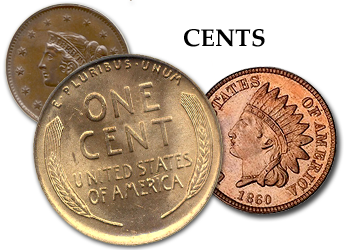 Large Cents, Flying Eagle Cents, Indian Head Cents, & Lincoln Cents - 1c  Two Cent Pieces - 2c