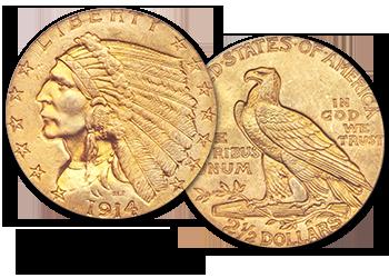 Indian Gold Quarter Eagles - $2.5 Gold Pieces