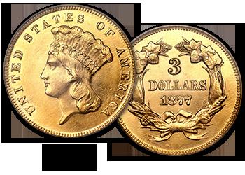 Three-Dollar Gold Pieces - $3
