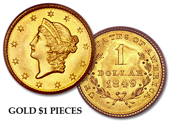 One-Dollar Gold Pieces - $1