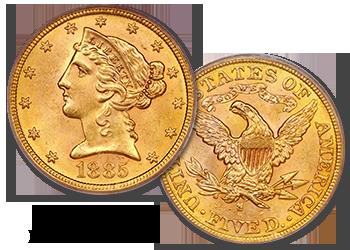 Liberty Gold Half Eagles - $5 Gold Pieces