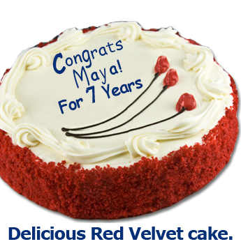 A delicious red velvet cake for Maya Jones on her 7th anniversary at Southgate Coins in Reno
