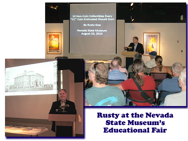 Southgate Coins owner Rusty Goe lectures at the Nevada State Museum's Educational Fair in Carson City