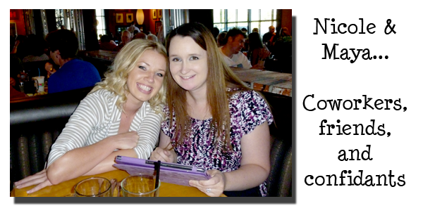 Southgate Coins employees Nicole Hoff and Maya Jones bidding each other farewell at company dinner