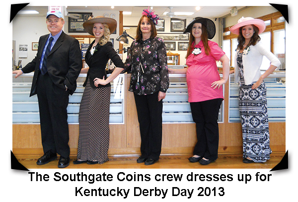 Southgate Coins owners Rusty and Marie Goe and their employees uphold the Kentucky Derby Day company tradition