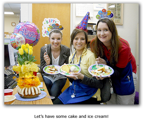 Southgate Coins employees uphold coin shop company tradition with birthday cake and ice cream