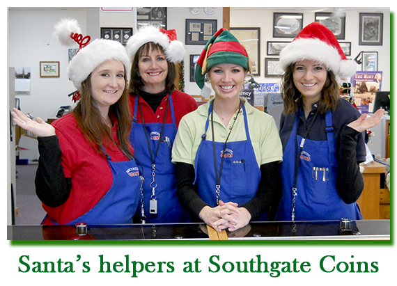 Southgate Coins employees Maya, Marie, Nicole, and Emily enjoy the holiday season at the coin shop