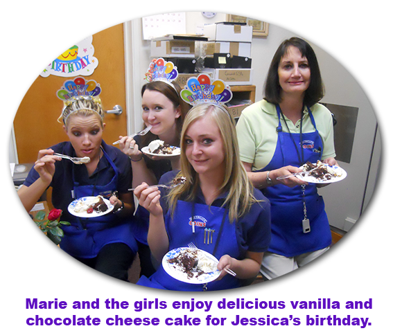 Nicole doesn't think anyone's looking as Southgate Coins crew celebrate's Jessica's birthday.