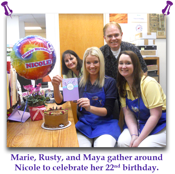Southgate Coins employees pose with birthday girl Nicole in between appraising, buying, and selling coins