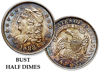 Capped and Draped Bust Half Dimes h10c