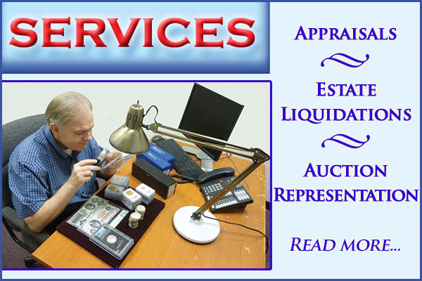 Southgate Coins offers numismatic appraisals, estate liquidations, and auction representation.