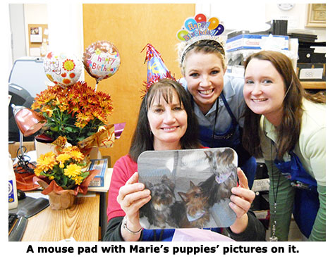 A Yorkie mousepad for Southgate Coins owner Marie