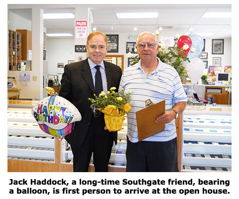 Friend of Southgate Coins, Jack Haddock, visits on our 10th anniversary