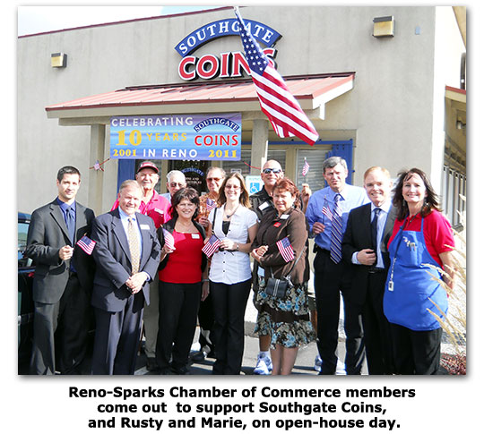 Reno-Sparks Chamber of Commerce honors Southgate Coins on their 10 year anniversary