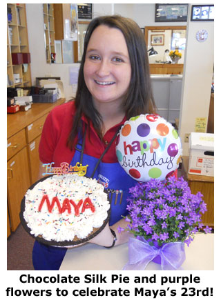 Chocolate Silk pie for Maya Roberts on her 23rd birthday at Southgate Coins