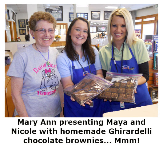 Southgate Coins client and friend, Mary Ann Arnold, brings brownies to the coin shop