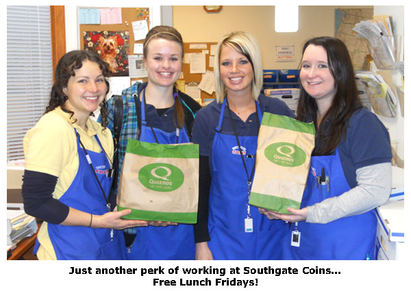 Southgate Coins staff, Elaine, Rebecca, Maya, and Nicole, enjoy Free Lunch Fridays in January