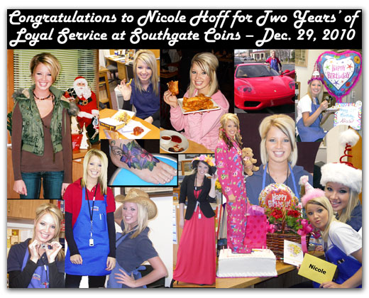 Southgate Coins owner Rusty Goe creates a collage to commemorate employee Nicole Hoff's 2 years at the coin shop