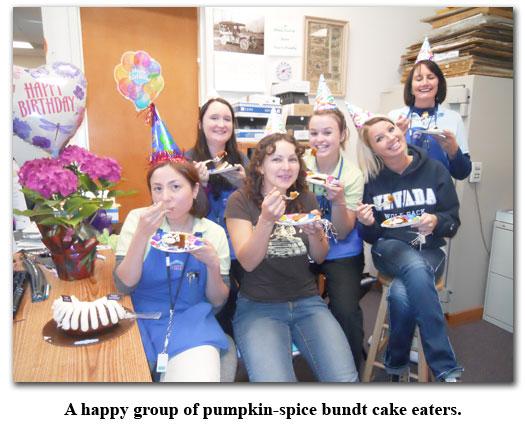Southgate Coins employees enjoy Akimi's birthday cake at her celebration