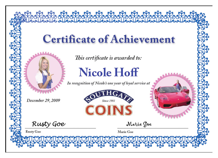 Southgate Coins honors Nicole Hoff on her 1-year anniversary at the coin shop