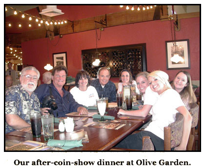 Southgate Coins & C4OA members gather at Olive Garden after the coins show and club meeting