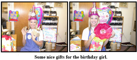 Nicole enjoys her presents and decoration at her coin shop birthday
