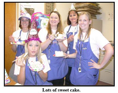 The Southgate crew enjoys delicious birthday cake