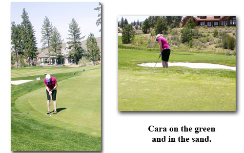 Cara practices on the green and in the dunes for her Southgate Coins golf tournament