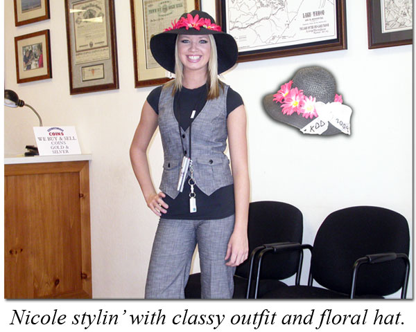 Nicole dressed in a pantsuit for Kentucky Derby Day at the coin shop