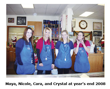 Southgate staffers Maya, Nicole, Cara, and Crystal at the end of 2008