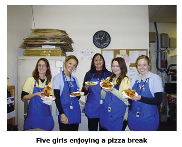 Coin shop works love pizza on break