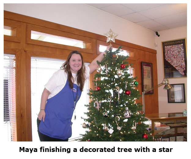 Southgate Coins employee Maya puts the star on the Christmas tree