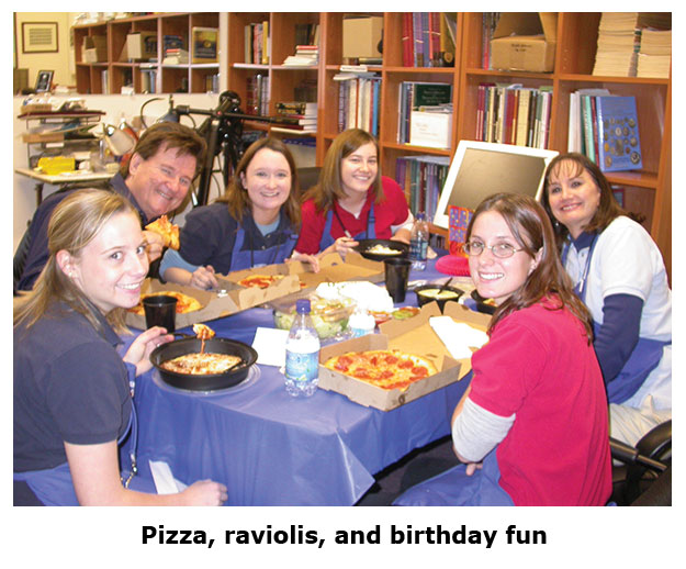 Southgate Coins staff and friends of the store enjoy an Olive Garden Free Lunch Friday