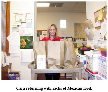 Cara brings lunch for Southgate Coin staff