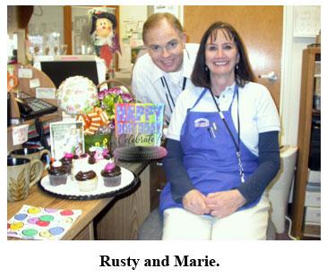 Rusty and Marie Goe celebrating her birthday