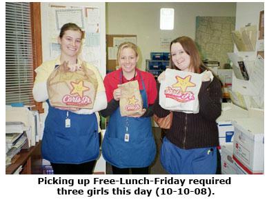 Brittany, Cara, and Maya pick up Free Lunch Friday at Southgate Coins