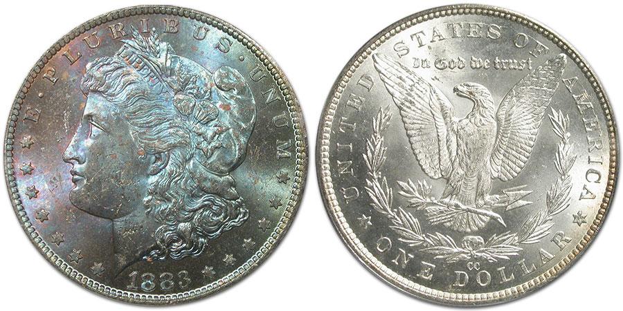 Maya's 1883-CC Carson City Morgan Silver Dollar with iridescent toning