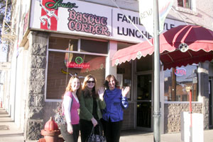 Maya, Amy, and Marie in front of Louis' Basque Corner