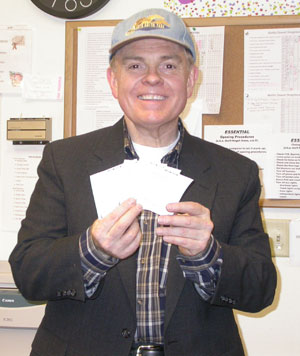 Rusty displays is winning horse tickets at Southgate Coins