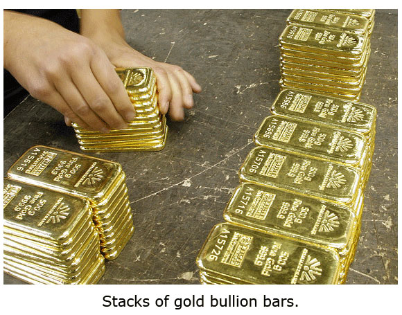 Stacks of 500g bars of gold bullion