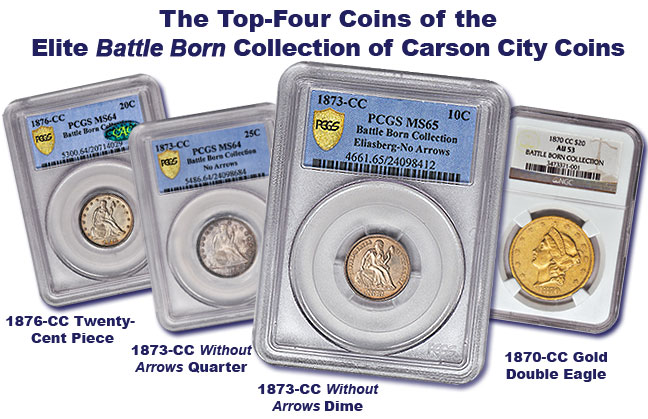 The top-4 most rare coins in the Battle Born Collection of Carson City Coins