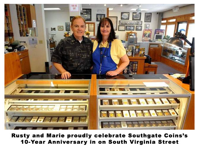 Southgate Coins owners Rusty and Marie Goe remember opening their reno coin shop on 9-11-2001