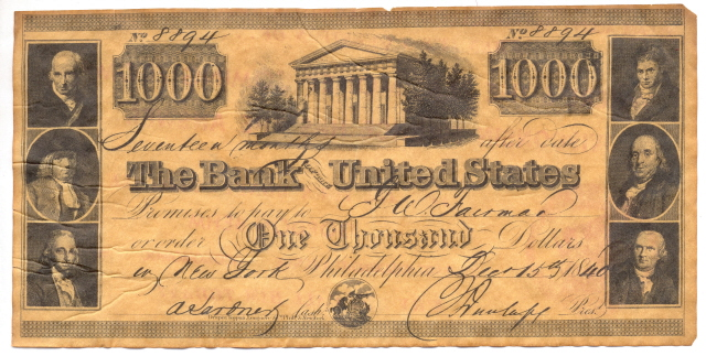 A facsimile $1000 US Bank Note at Southgate Coins