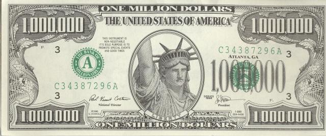 A novelty, fake $1,000,000 bill at Southgate Coins